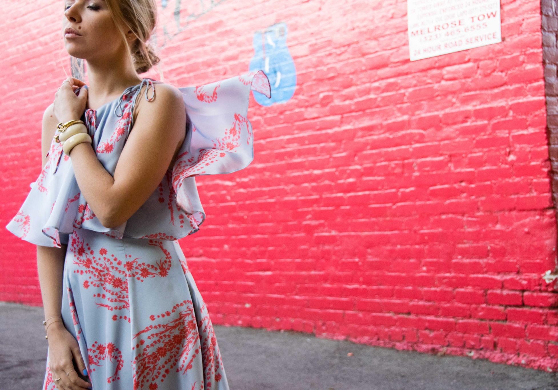 Cynthia Rowley Women's Midi Dress with Popover Detail - Olga Pancenko - aestheticallypleasing - Femminine and Edgy Style